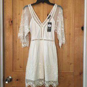NWT - Boohoo ivory lace dress
